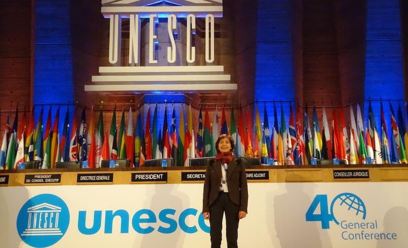 Gabrielle de Milleville, Représentante de Make Mothers Matter auprès de l'UNESCO, à la 40e Conférences Générale de l'UNESCO